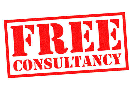 consultancy: FREE CONSULTANCY red Rubber Stamp over a white background. Stock Photo