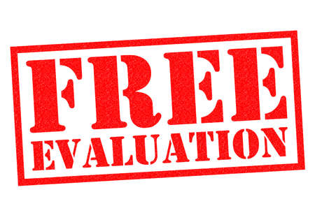 evaluated: FREE EVALUATION red Rubber Stamp over a white background.