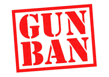 banning the symbol: GUN BAN red Rubber Stamp over a white background. Stock Photo