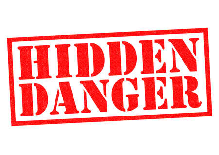 endangerment: HIDDEN DANGER red Rubber Stamp over a white background. Stock Photo