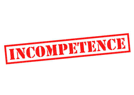 unskilled worker: INCOMPETENCE red Rubber Stamp over a white background. Stock Photo