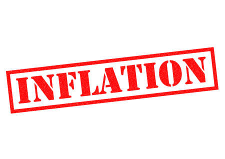 credit crunch: INFLATION red Rubber Stamp over a white background. Stock Photo