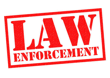 enforcement: LAW ENFORCEMENT red Rubber Stamp over a white background.