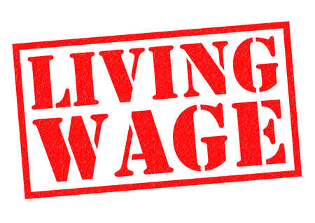 minimum wage: LIVING WAGE red Rubber Stamp over a white background.