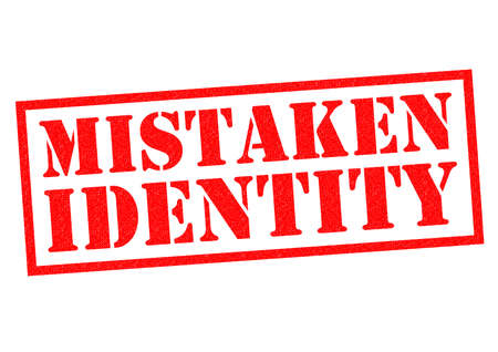 blunder: MISTAKEN IDENTITY red Rubber Stamp over a white background.