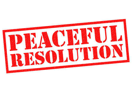neutrality: PEACEFUL RESOLUTION red Rubber Stamp over a white background.