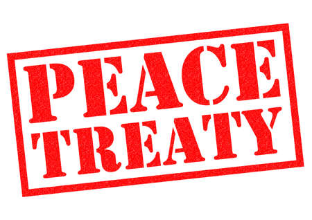 peace treaty: PEACE TREATY red Rubber Stamp over a white background.