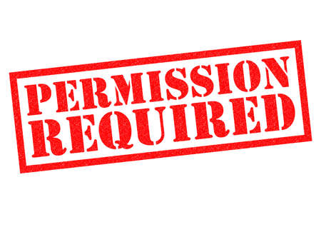 PERMISSION REQUIRED red Rubber Stamp over a white background. Stock Photo