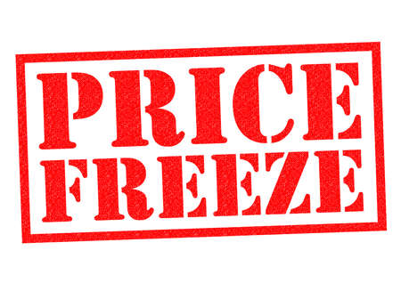 PRICE FREEZE red Rubber Stamp over a white background.