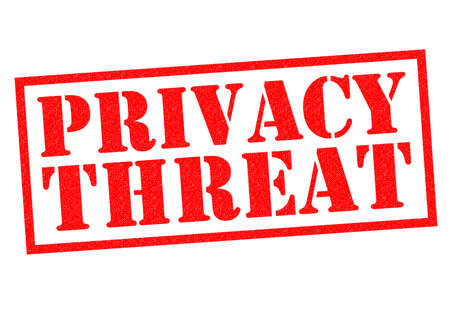 unsafe: PRIVACY THREAT red Rubber Stamp over a white background. Stock Photo