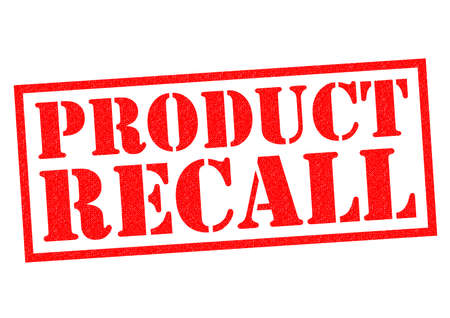 recall: PRODUCT RECALL red Rubber Stamp over a white background.