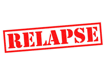relapse: RELAPSE red Rubber Stamp over a white background. Stock Photo