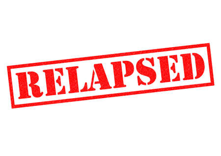 relapse: RELAPSED red Rubber Stamp over a white background. Stock Photo