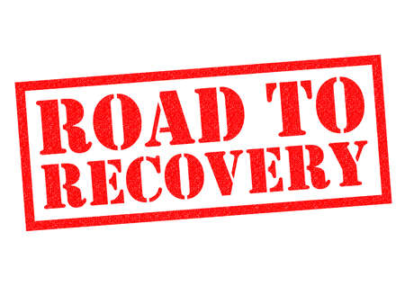 getting better: ROAD TO RECOVERY red Rubber Stamp over a white background. Stock Photo