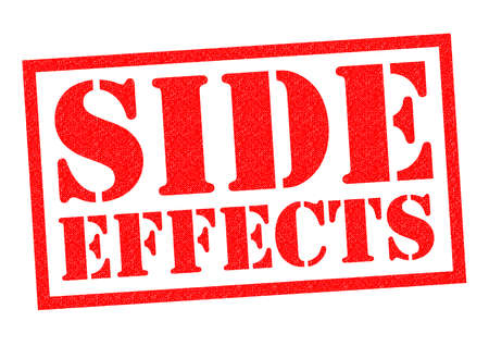 side effect: SIDE EFFECTS red Rubber Stamp over a white background.