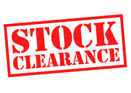 STOCK CLEARANCE red Rubber Stamp over a white background.
