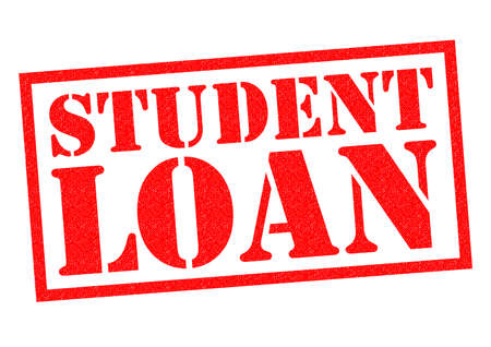student loan: STUDENT LOAN red Rubber Stamp over a white background.
