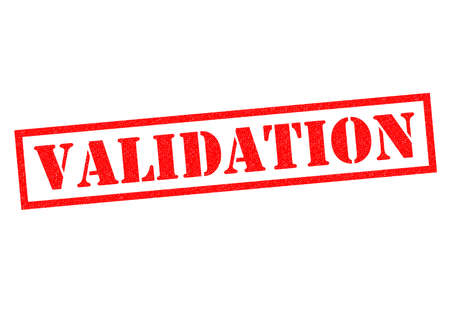 validation: VALIDATION red Rubber Stamp over a white background.