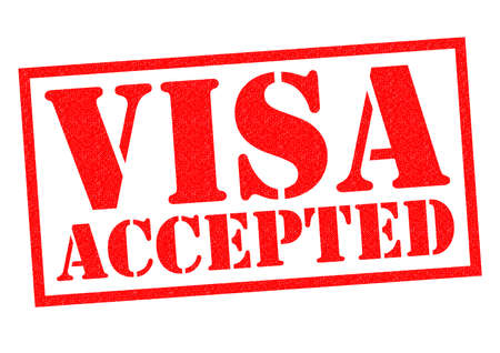 accepted: VISA ACCEPTED red Rubber Stamp over a white background.