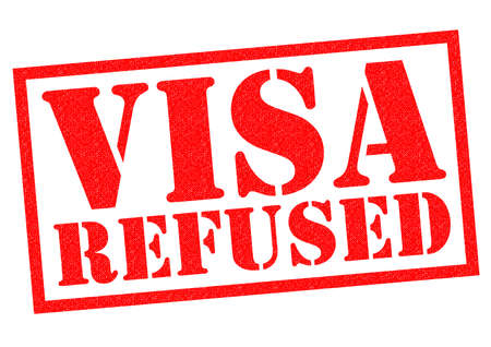 unapproved: VISA REFUSED red rubber Stamp over a white background. Stock Photo