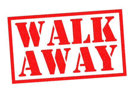 walk away: WALK AWAY red Rubber Stamp over a white background.