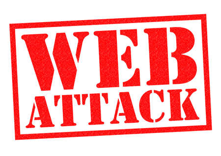 data theft: WEB ATTACK red Rubber Stamp over a white background. Stock Photo