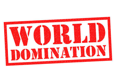 domination: Goma roja MUNDO DOMINACI�N sello sobre un fondo blanco. Foto de archivo