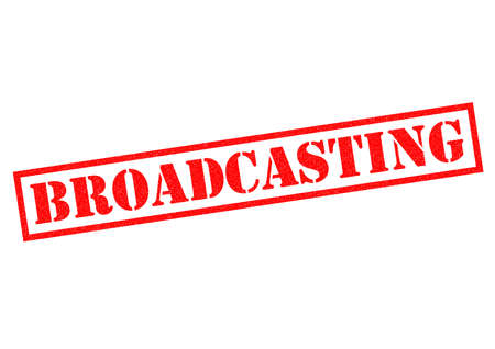 tele: BROADCASTING red Rubber Stamp over a white background.