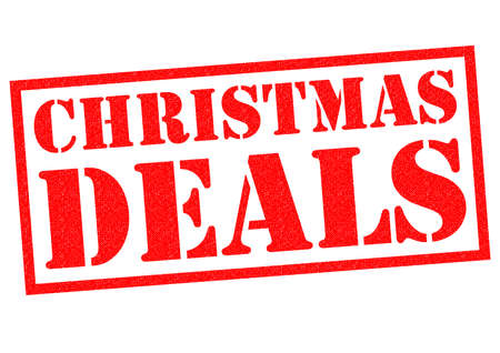 christmastime: CHRISTMAS DEALS red Rubber Stamp over a white background. Stock Photo
