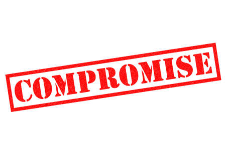 compromise: COMPROMISE red Rubber Stamp over a white background.