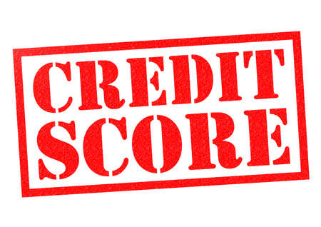 assess: CREDIT SCORE red Rubber Stamp over a white background.