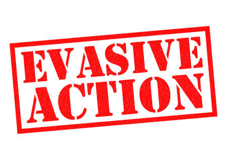 warned: EVASIVE ACTION red Rubber Stamp over a white background. Stock Photo