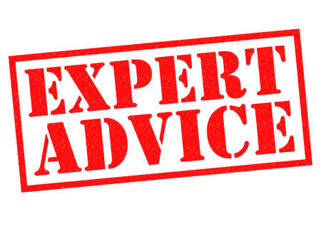 advising: EXPERT ADVICE red Rubber Stamp over a white background. Stock Photo