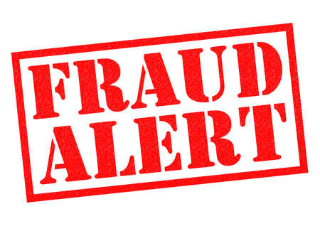 alerts: FRAUD ALERT red Rubber Stamp over a white background.