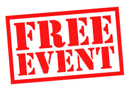ticketing: FREE EVENT red Rubber Stamp over a white background.