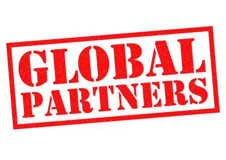 partners: GLOBAL PARTNERS red Rubber Stamp over a white background.