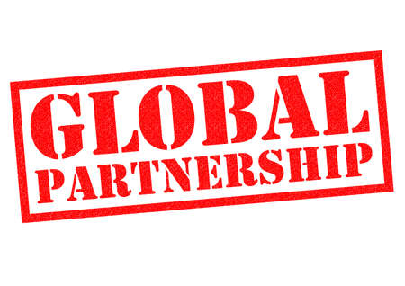 global partnership: GLOBAL PARTNERSHIP red Rubber Stamp over a white background.