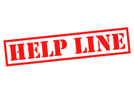 helpline: HELP LINE red Rubber Stamp over a white background.