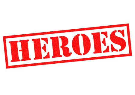 stamping: HEROES red Rubber Stamp over a white background. Stock Photo