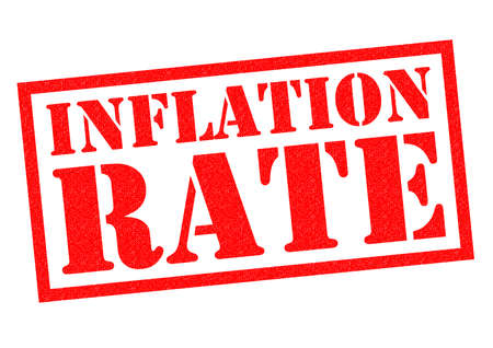 budgetary: INFLATION RATE red Rubber Stamp over a white background.