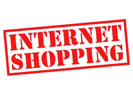internet shopping: INTERNET SHOPPING red Rubber Stamp over a white background. Stock Photo