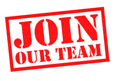 join our team: JOIN OUR TEAM red Rubber Stamp over a white background.