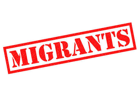 stamping: MIGRANTS red Rubber Stamp over a white background.