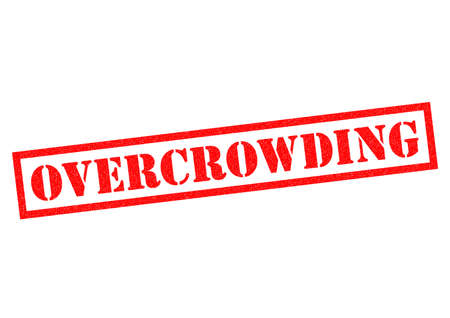 overcrowding: OVERCROWDING red Rubber Stamp over a white background. Stock Photo