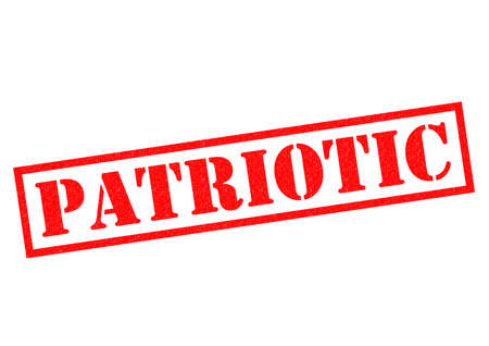 partisan: PATRIOTIC red Rubber Stamp over a white background.