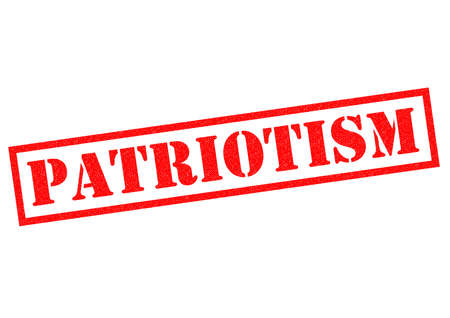 partisan: PATRIOTISM red Rubber Stamp over a white background.