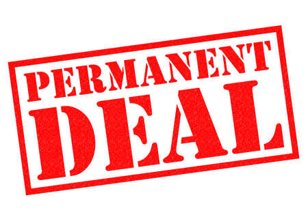 permanent: PERMANENT DEAL red Rubber Stamp over a white background.