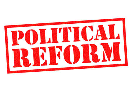 reform: POLITICAL REFORM red Rubber Stamp over a white background. Stock Photo