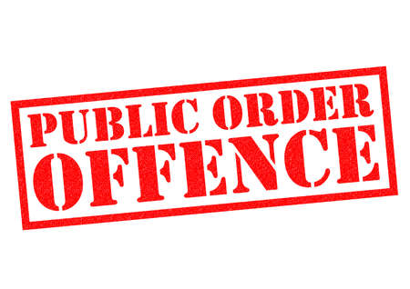 breaking law: PUBLIC ORDER OFFENCE red Rubber Stamp over a white background. Stock Photo