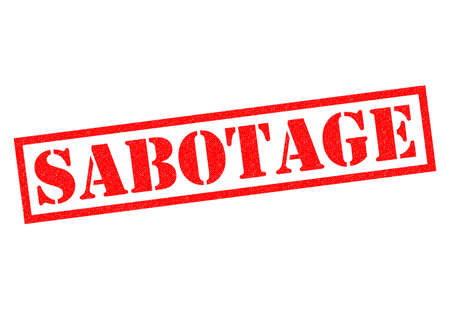 subversion: SABOTAGE red Rubber Stamp over a white background. Stock Photo